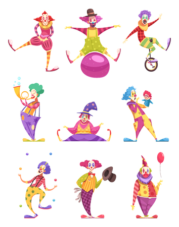 Set of icons clowns in colorful costumes with various elements including unicycle, puppet, ball isolated vector illustration Illustration