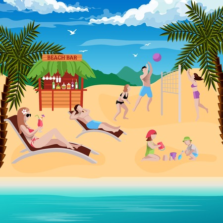 People on beach background with flat human characters laying on sun loungers playing volleyball with kids vector illustration