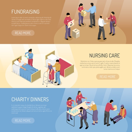 Isometric set of three horizontal banners with volunteers fundraising and helping needy people 3d isolated vector illustration