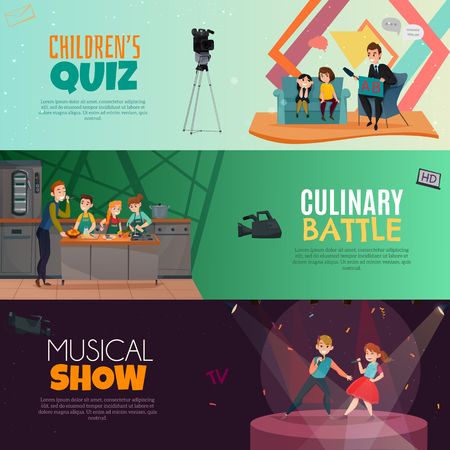 TV show kids set of horizontal banners  childrens quiz, culinary battle, musical performance isolated vector illustration