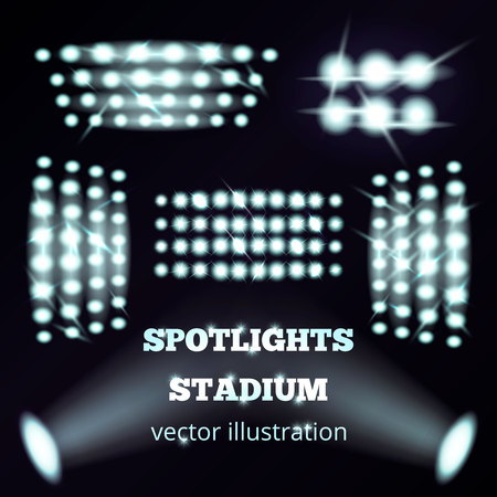 Stadium spotlights realistic set of white cold soffits and floodlights on black background  isolated vector illustration