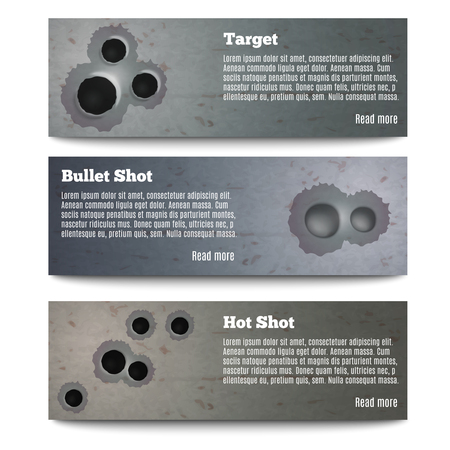 Set of three horizontal bullet shot hole realistic banners with editable text and read more button vector illustration