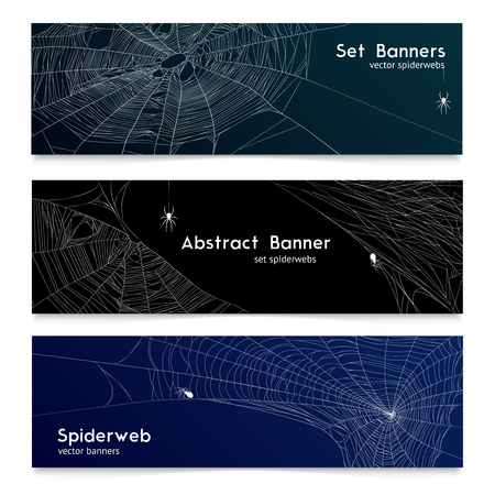 Spider web and cobwebs 3 realistic horizontal banners with black and dark blue background isolated vector illustration  Illustration