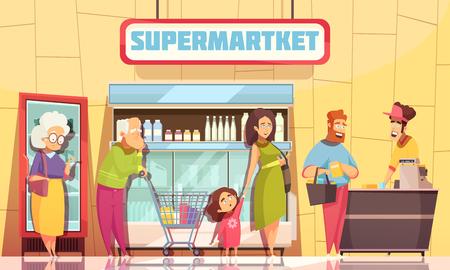 Affiche de personnages de file d'attente des acheteurs de supermarché avec la jeune famille et les personnes âgées en attente à l'illustration vectorielle de caissier Vecteurs