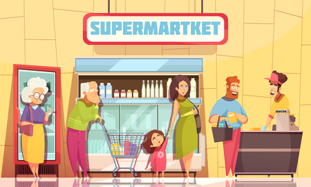 Supermarket shoppers queue characters poster with young family and old people waiting at cashier desk vector illustration
