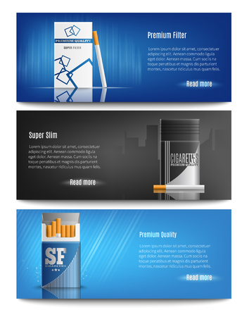 Premium quality filter cigarettes packs advertisement 3 stylish horizontal realistic banners web page design isolated vector illustration  Illustration