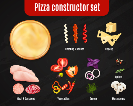 Pizza constructor realistic set on black background with dough and ingredients for topping isolated vector illustration Foto de archivo - 98864209