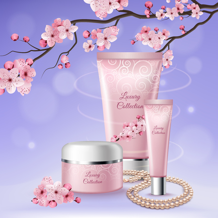 Sakura three tubes of cosmetics composition with luxury collection headlines on them vector illustration