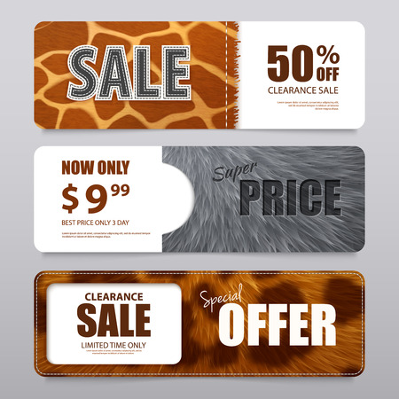 Fur sale advertising horizontal banners with  percentage discount and various elements texture realistic vector illustration