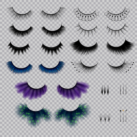 False eye lashes of various shape and color realistic set on transparent background isolated vector illustration