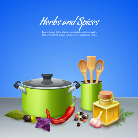 Realistic background with herbs spices and different utensils vector illustration