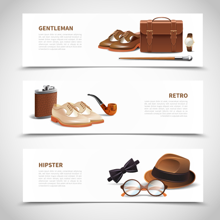 Banners with shoes hat glasses isolated illustration