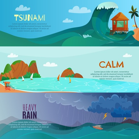 Seaside landscapes horizontal banners set with heavy rain symbols flat isolated vector illustration