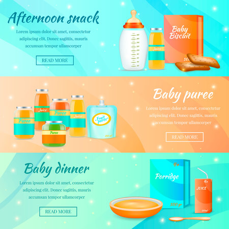 Baby food banners realistic 3d collection with read more button text and infant food package images vector illustration