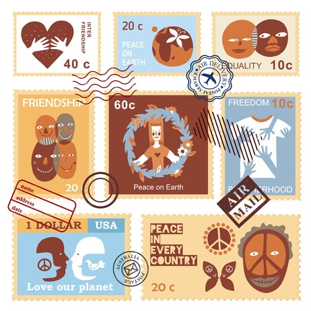 International friendship peace freedom love equality solidarity symbols on air mail envelope postage stamps collection vector illustration