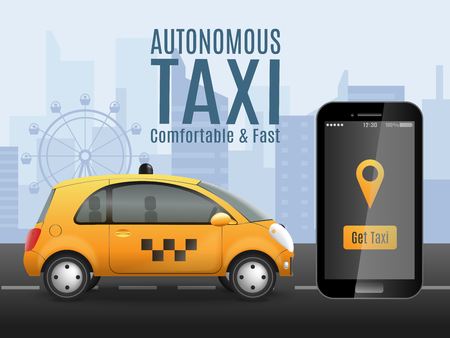 Autonomous taxi composition with realistic images of smartphone app and automatically driven car with urban background vector illustration