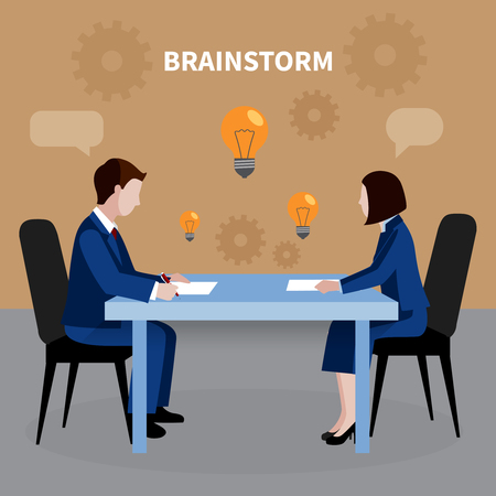Flat design human resources background with two people brainstorming for business ideas in office vector illustration