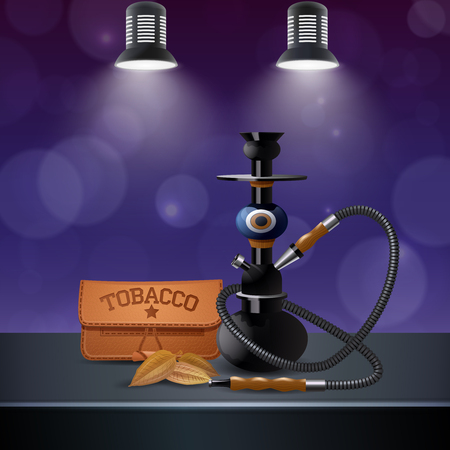 Realistic colored tobacco composition with hookah and tobacco on the table next vector illustration Archivio Fotografico - 98864231