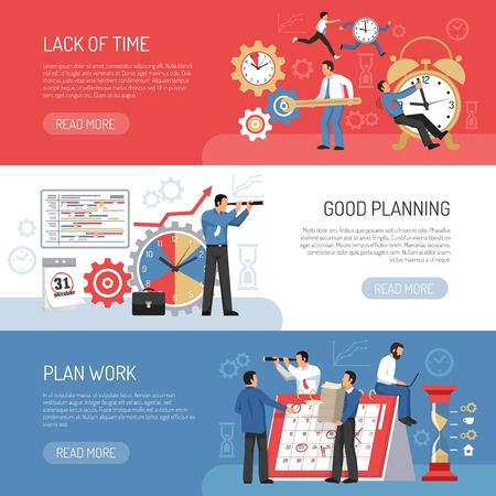 Planning work and schedule three horizontal banners set flat isolated vector illustration