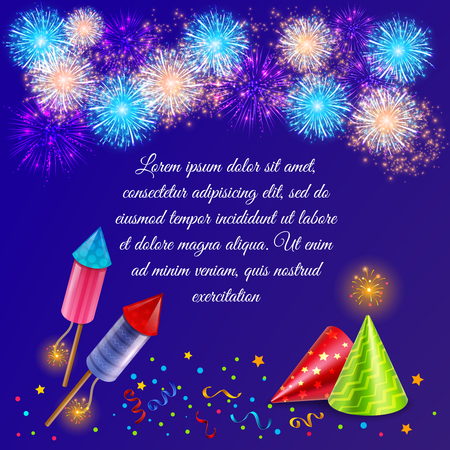Fireworks background composition with ornate firework display images of firecrackers party hats and confetti with text vector illustration