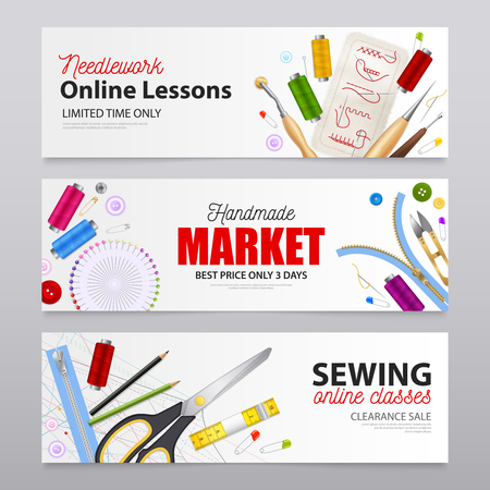 Handmade market realistic banners with advertising of needlework online lessons and sewing online classes vector illustration