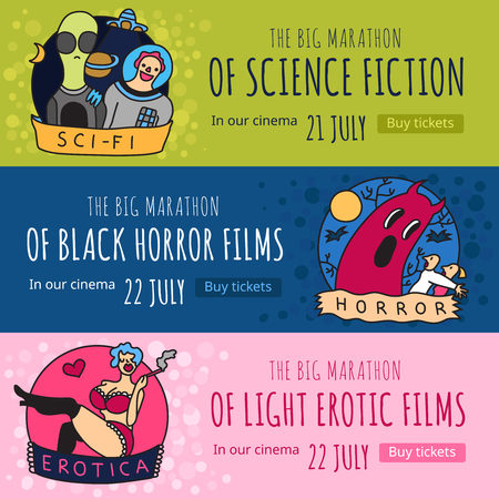 Cinema genres 3 funny colorful horizontal banners with science fiction horror and erotic movies isolated vector illustration Ilustração