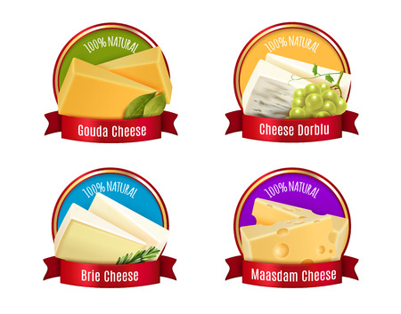 Set of labels with realistic cheese, red ribbons, spices and branch of white grape isolated vector illustration