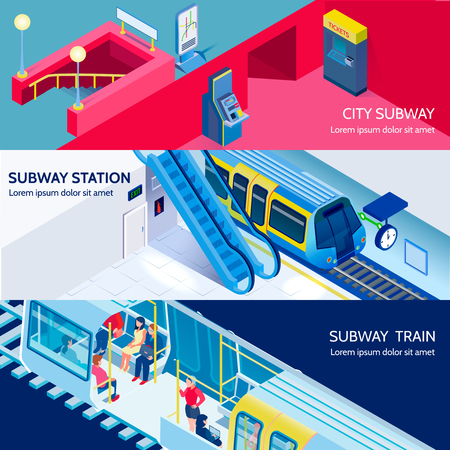 A Underground subway station and train isometric horizontal banners set 3d isolated vector illustration
