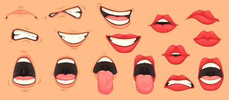Los gestos faciales de las expresiones lindas de la boca de la historieta fijaron con los labios que pone mala cara que sonreían sacando la lengua, ejemplo aislado del vector.