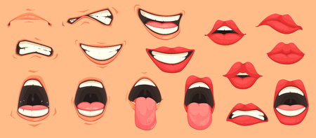 Cartoon cute mouth expressions facial gestures set with pouting lips smiling sticking out tongue, isolated vector illustration.
