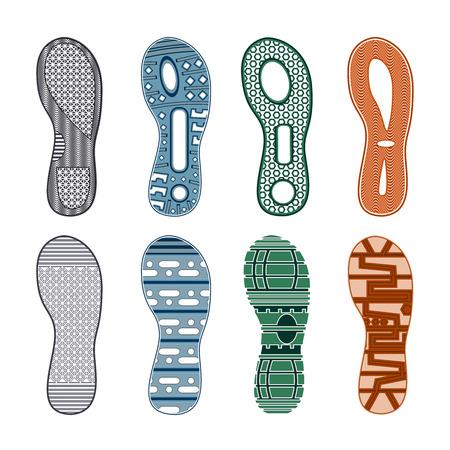 スポーツシューズは、白い背景、孤立したベクトルのイラストに異なるパターンの色付きのセットをフットプリント。  イラスト・ベクター素材
