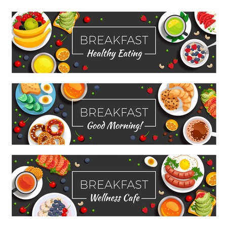 Breakfast horizontal banners with healthy eating products. Wellness cafe menu dishes and good morning wish headline vector illustration.