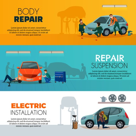Car service horizontal banners set with body repair symbols flat isolated vector illustration