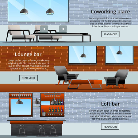 Loft interior elements gradient flat banners set with pieces of furniture text and read more button vector illustration 일러스트