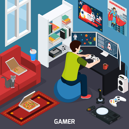 Gamer with control panel near screen during computer gaming in home interior isometric composition vector illustration Vektoros illusztráció