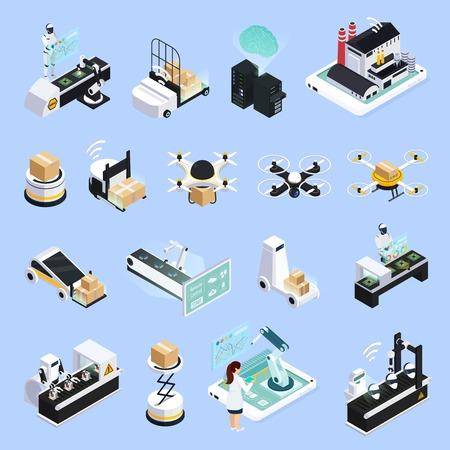 로봇과 드론 벡터 일러스트와 함께 자동화 된 생산 시설의 고립 된 이미지로 설정 스마트 산업 아이소 메트릭 아이콘