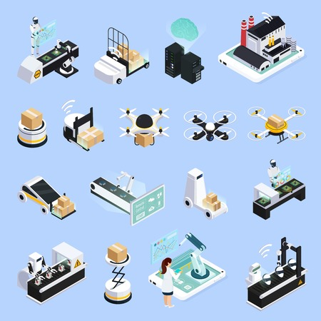 Smart industry isometric icons set with isolated images of automated production facilities with robots and drones vector illustration