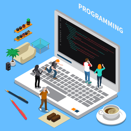 Miniature isometric concept with programming specialists laptop and interior items on blue background 3d vector illustration