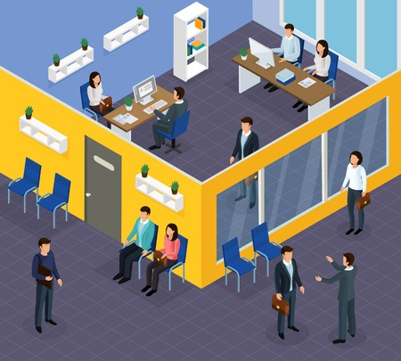 Employment agency office specialists assisting job seekers finding work helping companies hire staff isometric compositions vector illustration  Stock Illustratie