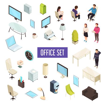 Office workplace personnel furniture computers tablets printer coffeemaker drawers clock lamps isometric icons collection isolated vector illustration  Illustration