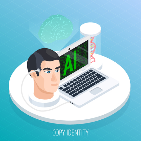 Artificial intelligence mind archivation isometric composition with human head connected to digitizing computer software with dna vector illustration