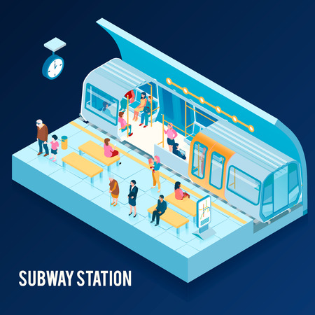 Isometric concept with underground subway station and people sitting in train and on platform on blue background 3d vector illustration