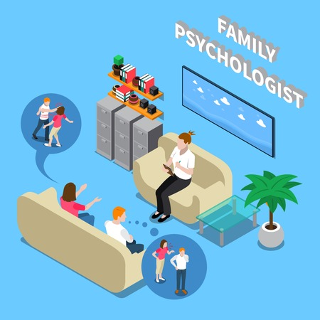 Family couple during reception at psychologist isometric composition with interior elements on blue background vector illustration