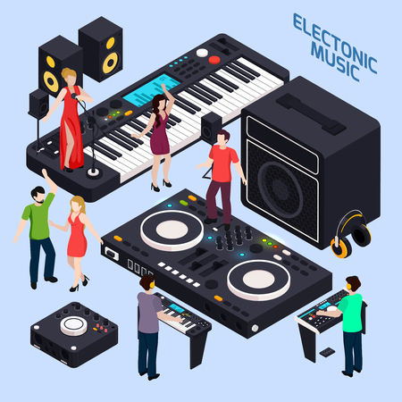 Music recording studio equipment isometric conceptual composition with dancing people on keys and dj audio devices vector illustration