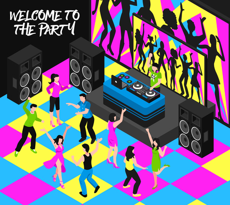 Dj and party composition with entertainment nightlife and music symbols isometric vector illustration