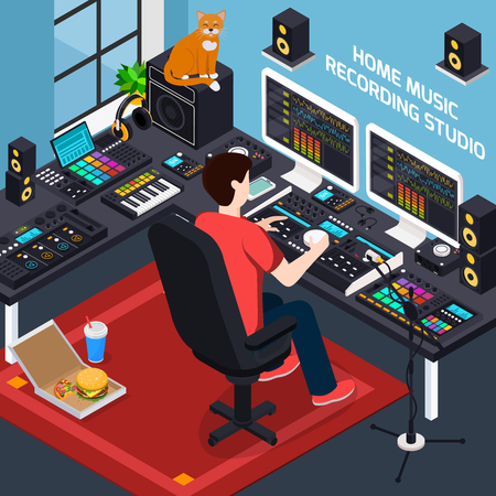 Music recording studio isometric composition with images of pro audio equipment in private environment home interior vector illustration