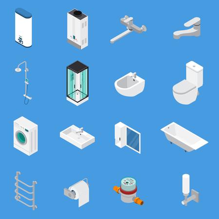 Ingeniería sanitaria que incluye grifos, bañeras, lavabos, lavabos, iconos isométricos de lavadora de ropa aislados en la ilustración de vector de fondo azul