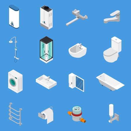 Sanitary engineering including faucets, bath, sinks, lavatory, laundry washer isometric icons isolated on blue background vector illustration