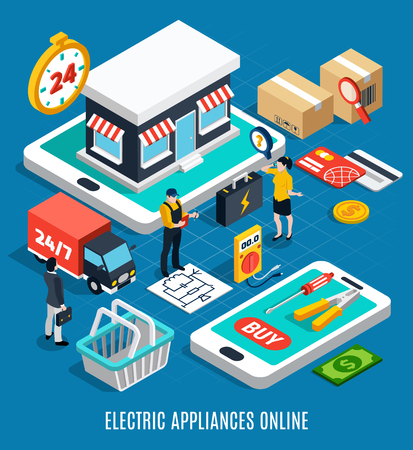 Electricity isometric colored 3d composition with electric appliances online headline 3d style vector illustration