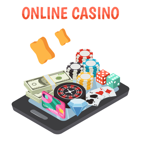Online casino design concept set of roulette wheel game cards dice chips icons on smartphone screen isometric vector illustration Illustration